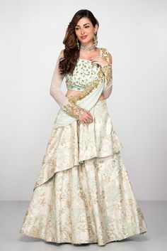 Abhilasha ~ Mint Green Lehenga Set With Attached Dupatta Indian Designer Outfits, Indian Outfits, Designer Dresses, Indian Wedding Gowns, Indian Gowns, Wedding Dress, Party Wedding, Saree Gown, Anarkali Dress