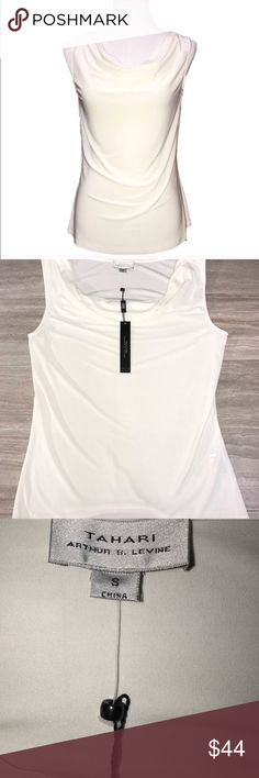 "NWT Tahari Ivory Draped Neck Sleeveless Blouse Reposhing - beautiful blouse, but I've had it for 2 months and haven't even taken the tags off - it deserves a home with an owner that will wear it!! It's too pretty to sit around in my closet. But I feel like it's a little too ""adult"" for my style. It's very chic. Tahari Tops Blouses"