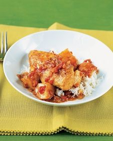 Serve this dish with rice and accompaniments, such as plain yogurt, raisins, toasted almonds, and store-bought mango chutney. Curry powder comes in many varieties. Madras, used here, is spicier.