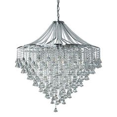#chandelier  Dorchester 7 Lamp Chrome Ceiling Light With Crystal Buttons