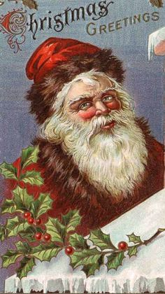 Artist Stephen Kline has collected a variety of… Vintage Christmas Images, Old Christmas, Christmas Pictures, Christmas Greetings, Father Christmas, Santa Claus Images, Vintage Santa Claus, Vintage Santas, Vintage Ornaments