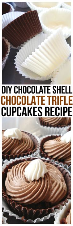 A hard chocolate cupcake shell filled with moist chocolate cake, creamy chocolate mousse and topped with whip cream.  The Perfect Trifle Cupcakes Recipe. DIY Chocolate Shells too!  via @CourtneysSweets