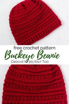 Buckeye Beanie, free crochet pattern for women's hat designed by Crochet 365 Knit Too. hat pattern free women easy Buckeye Beanie - A Textured Crochet Hat - Crochet 365 Knit Too Mens Crochet Beanie, Crochet Adult Hat, Crochet Hats For Boys, Easy Crochet Hat, Crochet Yarn, Crocheted Hats, Knit Hats, Easy Knitting, Crochet Dolls