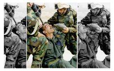 """Irakischer Soldat: Das farbige Originalbild in der Mitte zeigt einen irakischen Soldaten umgeben von US-Soldaten während des Irak-Kriegs 2003. Die Fotomontage wurde von Artdirektorin Ursula Dahmen für den Tagesspiegel angefertigt, um in der Gegenüberstellung zu demonstrieren, wie unterschiedliche Bildausschnitte die Interpretation eines Bildes beeinflussen können. Auch dies ist Bildmanipulation.  Die Fotomontage ist Teil der Wanderausstellung """"X für U - Bilder, die lügen""""..."""