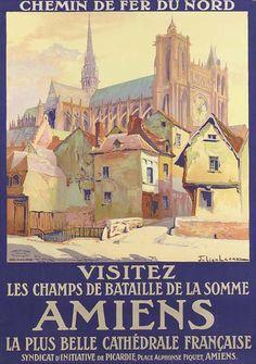 chemins de fer du nord - Amiens - Visitez les champs de bataille de la Somme - illustration de Julien Lacaze - France -