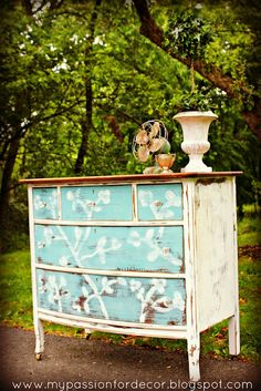 A lovely dresser finished with a distressed, cherry blossom design in Provence & Pure White Chalk Paint® decorative paint by Annie Sloan | By My Passion For Decor