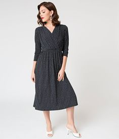 c04f6b55d0 Vintage Style Navy   White Dotted Three-Quarter Sleeved Midi Dress