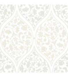 Adelaide Silver Ogee Floral  Wallpaper