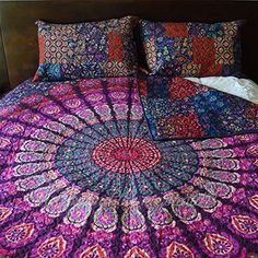 Patchwork Mandala Quilt. A tapestry on one side and a patchwork of your favorite tapestries on the other <3 Custom orders available!