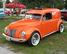 VW Delivery Sedan .. not keen on the color but love the idea and look of it - modified with a 40's truck hood