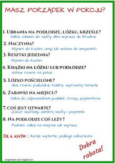 Zorganizowany Dom: Jak nauczyć dziecko sprzątania swojego pokoju - lista kontrolna do wydrukowania School Organisation, Home Organization, School Motivation, Better Life, Kids And Parenting, Good To Know, Fun Facts, Life Hacks, Diy And Crafts