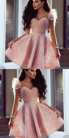 Sweetheart Pink Beaded Short Prom Dress with Feathers, Cutest Pink Dresses for Homecoming, Short Prom Party Dresses with Beading in vogue Pink Party Dresses, Pink Dress, Formal Dresses, Dresses Dresses, Short Pink Prom Dresses, Dress Party, Short Elegant Dresses, Short Gown Dress, Dance Dresses