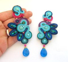Long Clip On Earrings Colorful Statement by GiSoutacheJewelry