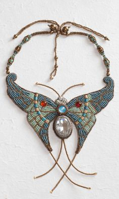 Jewelry Design - Bib-Style Necklace with Seed Beads, Swarovski® Crystals and…