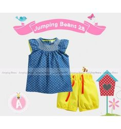 Baju bayi anak branded import Jumping Beans 28 A Tunic Set - Blue Polka Yellow