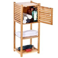 ToiletTree Products Bamboo Bathroom Storage Cabinet - Freestanding Wooden Organizer Shelf for Bathroom & Bedroom - Storage Multifunctional Cabinet Plastic Storage Cabinets, Bedroom Storage Cabinets, Bathroom Storage Units, Bathroom Shelves, Storage Spaces, Bathroom Cabinets, Bamboo Cabinets, Wooden Cabinets, Bamboo Bathroom