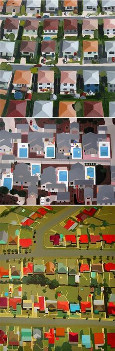 from The Jealous Curator:    These lovely rooftops {and pools!} by New York based artist Toni Silber-Delerive make me want to hop on a plane to just about anywhere… or move to the suburbs! So simple, gorgeous colors, and such a lovely view of the world.