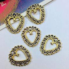 Bulk Lot 25 gold tone Mexican Heart Charms 25x23mm antiqued
