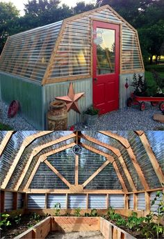 45 BEST tutorials, free building plans & ideas on how to build easy DIY greenhouses, simple cold frames, garden tunnels & hoops with low cost materials! Diy Greenhouse Plans, Backyard Greenhouse, Backyard Landscaping, Backyard Ideas, Shed With Greenhouse, Simple Greenhouse, Homemade Greenhouse, Large Backyard, Outdoor Projects