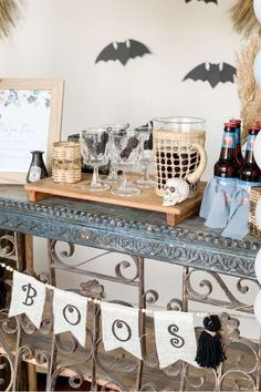Check out this creepy Halloween party! The bar is awesome! See more party ideas and share yours at CatchMyParty.com  #catchmyparty #partyideas #halloween #halloweenparty #halloweendrinks