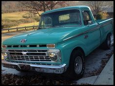 1966 Ford Pickup. Just bought a stepside this winter, new transmission and alternator, steering wheel done,   maybe new wiring and waiting for new paint was this color originally and someone painted it red, wish I could go back to the turquoise! His name is Fred and I have already given my dog(riley) his first ride in it!