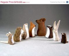 Animals from The Mitten - Little Wool Felt Bear, Fox, Badger, Owl, Rabbit, Hedgehog, Mole, and Mouse Toys
