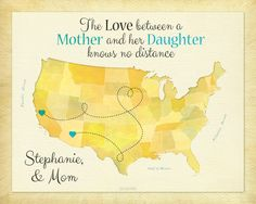 Gift for Mom, Birthday Idea for Mother, Moving Away Present, Long Distance Gift, Mother and Daughter Quote, Personalized Map Print, US Map, Keepsake, Map, Home Decor by #KeepsakeMaps on Etsy