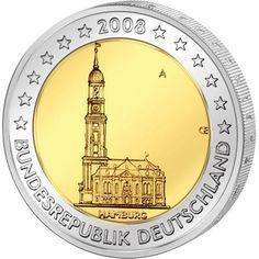 moneda conmemorativa 2 euros Alemania 2008. 5 monedas