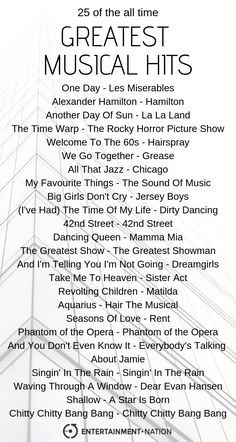 The greatest musical hits of all time playlist, bought to you by Entertainment Nation. Check out our musical playlist on Spotify. Music Lyrics, Music Quotes, Music Songs, Music Mood, Mood Songs, We Go Together Grease, Sound Of Music, Music Is Life, Karaoke