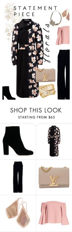 """""""Floral Coat"""" by triplee2017 ❤ liked on Polyvore featuring Joseph, Brandon Maxwell, Louis Vuitton, Kendra Scott, Topshop, Valentino and statementcoats"""