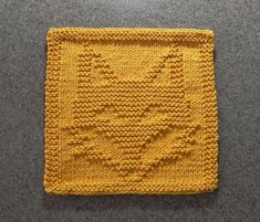Knit Dishcloth FOX  Hand Knitted Unique Design by AuntSusansCloset