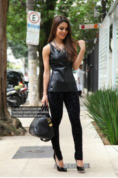 faux leather tee +velvet skinny- HOT!!!  I would definitely wear this outfit…