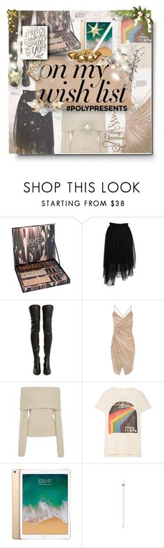 """#PolyPresents: Wish List"" by moodboardsbyluna ❤ liked on Polyvore featuring Urban Decay, MSGM, Yves Saint Laurent, Boohoo, Rosetta Getty, MadeWorn, Apple, contestentry and polyPresents"
