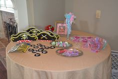 Pirate  Princess Tea Party - dress up table...maybe put everything into a treasure chest for them to pick from