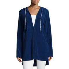 Splendid Hooded Long-Sleeve Tunic (195 BRL) found on Polyvore featuring women's fashion, tops, tunics, navy, navy blue long sleeve top, blue long sleeve top, navy blue tops, navy blue tunic and sweater pullover