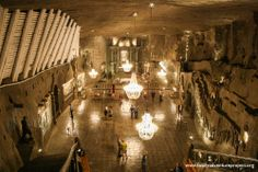 Salt mine in Krakow (Wieliczka). They used to have concerts here! Only 327 metres deep. Don't lick the walls! Everyone else has!