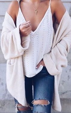 rips + cami + knit cardigan