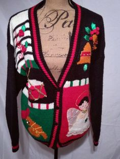 Bust measures No rips, or tears but the red bled on the angels wings. Merry Christmas 2017, Xmas, Christmas Stuff, Vintage Colors, Ugly Sweater, Being Ugly, Drums, Christmas Sweaters, Angel