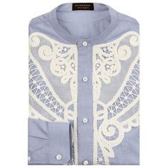 Burberry Runway Embroidered Shawl Shirt ($730) ❤ liked on Polyvore featuring men's fashion, men's clothing, men's shirts, men's casual shirts, mens collared shirts, mens embroidered shirts, mens oversized shirt and mens collarless shirts