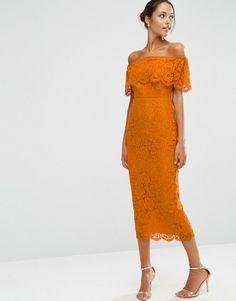 ASOS | Vestido de tubo Bardot a media pierna con parte superior corta de encaje de ASOS