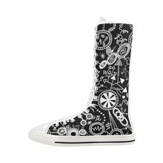 Wheels, Snakes and Worms Black and White Doodle Canvas Long Boots For Women Mode. - Wheels, Snakes and Worms Black and White Doodle Canvas Long Boots For Women Model - Doodle Canvas, Long Boots, Black Boots, Black And White Doodle, Custom Bags, Snakes, Worms, New Shoes, Female Models