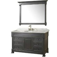 "Check out the Wyndham Collection WC-TS55BL-TC Andover 55"" Floor Standing Vanity Set in Antique Black with White Carrera Top priced at $1,599.00 at Homeclick.com."