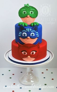 festa a tema PJ Masks_torta a più piani