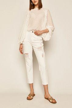 Medicine - Jeansi Boho Breeze albi cu rupturi trei sferturi Boho, White Jeans, Capri Pants, Fit, Breeze, Products, Fashion, Moda, Capri Trousers