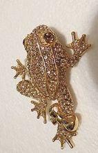 Womens Vintage CINER Topaz pave rhinestones Frog BROOCH 1980s Jewelry spectacular