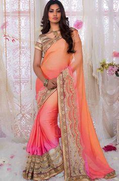 Buy Breezy Orange n Apricot Embroidered Saree Online: GSR25485