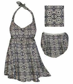 Customize Beige & Black Floral Trellis Print Plus Size Halter SwimDress Swimwear or Shoulder Strap 2pc Swimsuit 0x1x 2x 3x 4x 5x 6x 7x 8x 9x