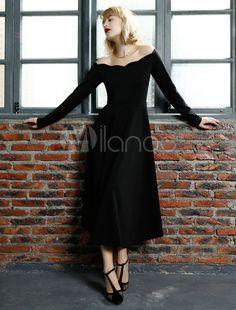 Schwarz aus-die-Schulter-Roman stricken Vintage Dress - Milanoo.com