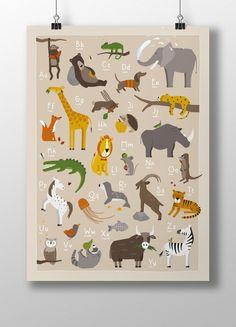 Drucke plakate tier abc poster a3 ein for Weltkarte poster ikea