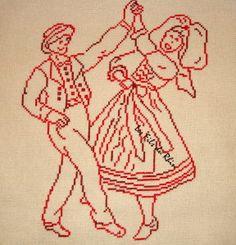 Je ne chôme pas actuellement, j'ai même des petites mains qui m'aident .... Voici la broderie que je viens de terminer Ce sont des danseurs alsaciens qui ont vraiment l'air de bien s'amuser, ils sont brodés en Garance des fils du Rhin C'est une fiche...